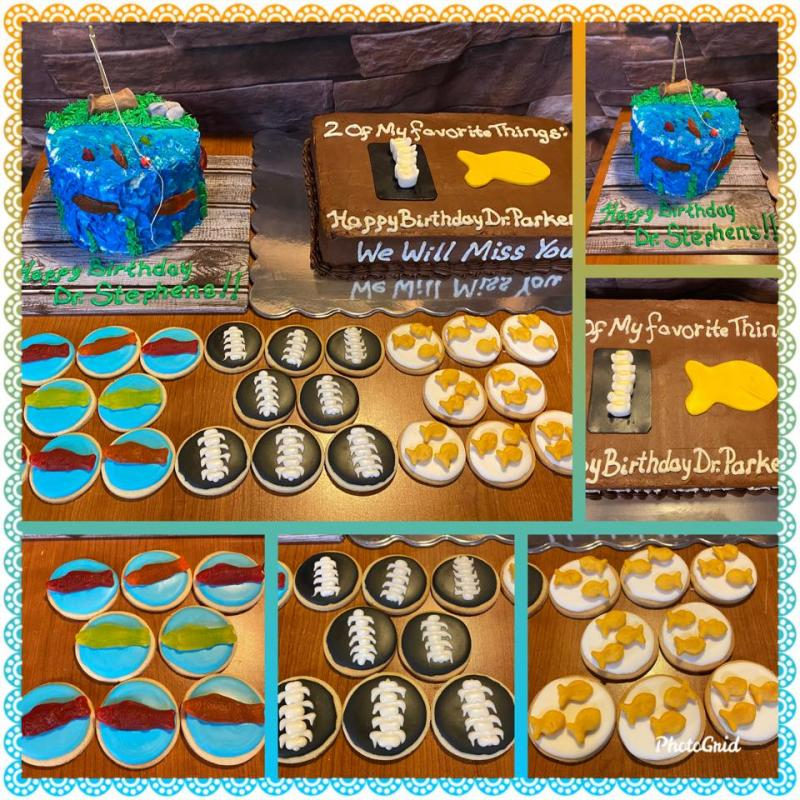 Spine and Goldfish Cake / Fishing Cake / Matching Cookies
