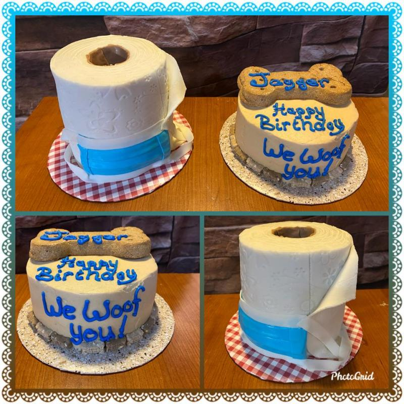 Toilet Paper & Surgical Mask Cake and Doggy Birthday Cake