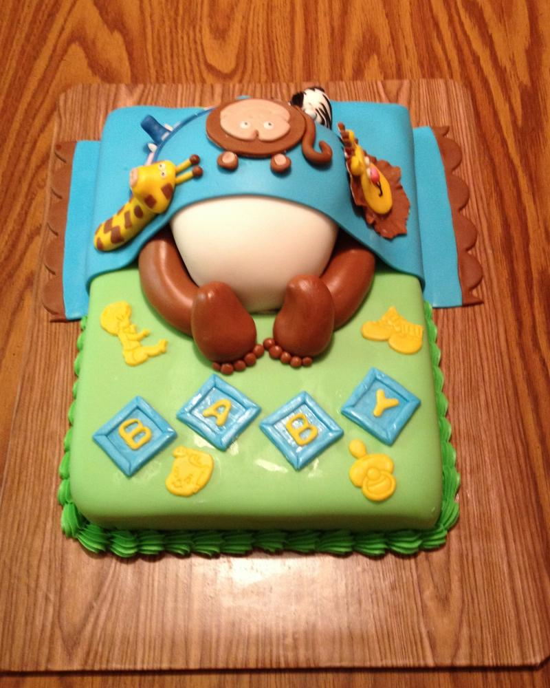 Baby Bottom Cake with Zoo Animals