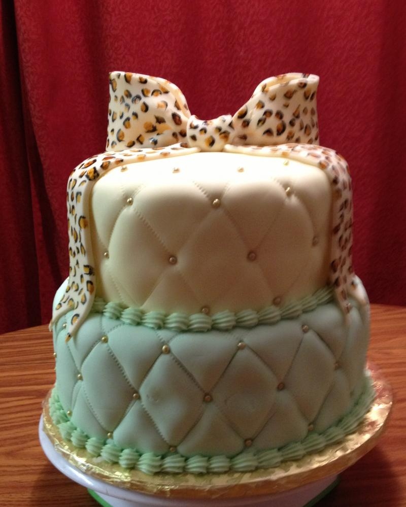 Cheetah Bow - 2 Tier B-Day Cake