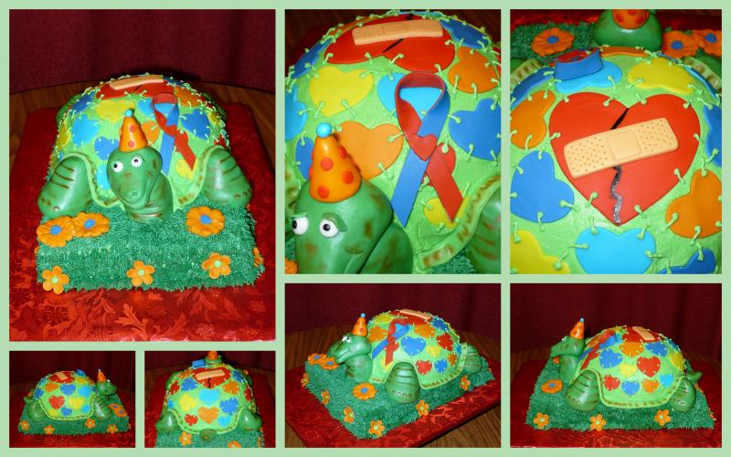 Turtle Cake with CHD Ribbon and Mended Heart