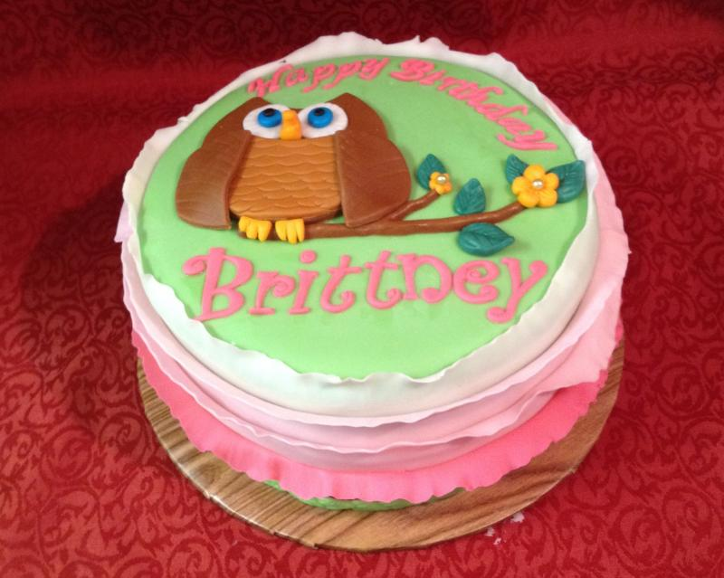 Owl Themed Birthday Cake with Fondant Ruffles